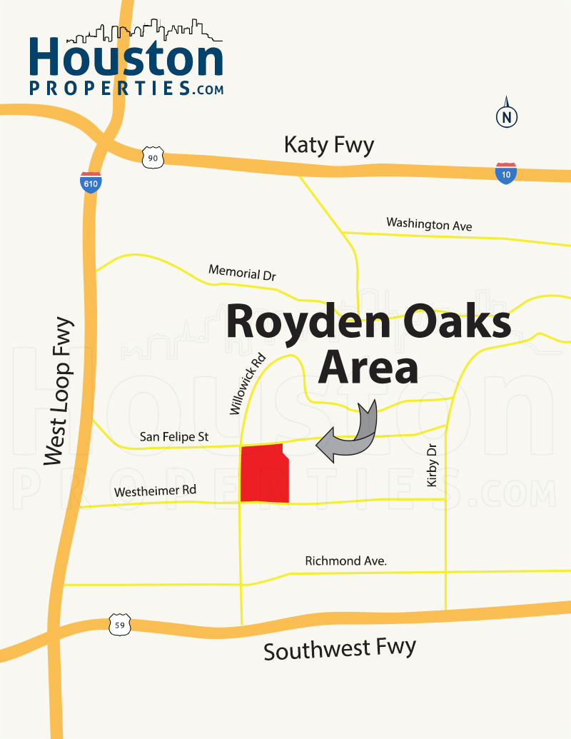royden oaks houston map