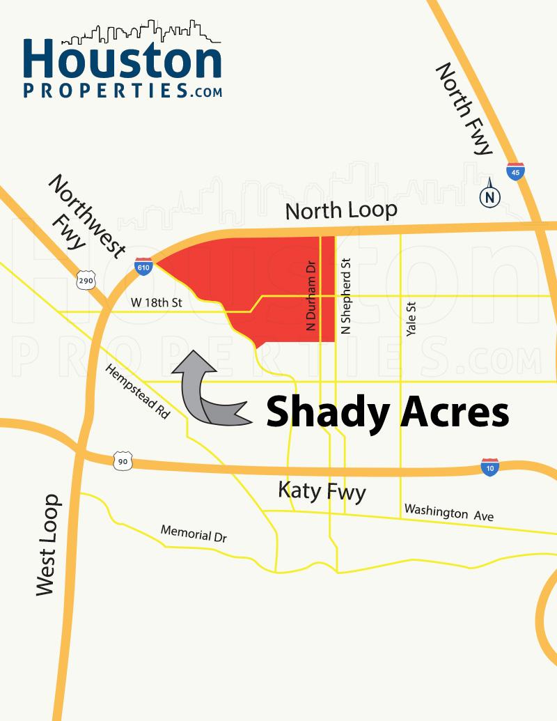 Shady Acres Houston Map