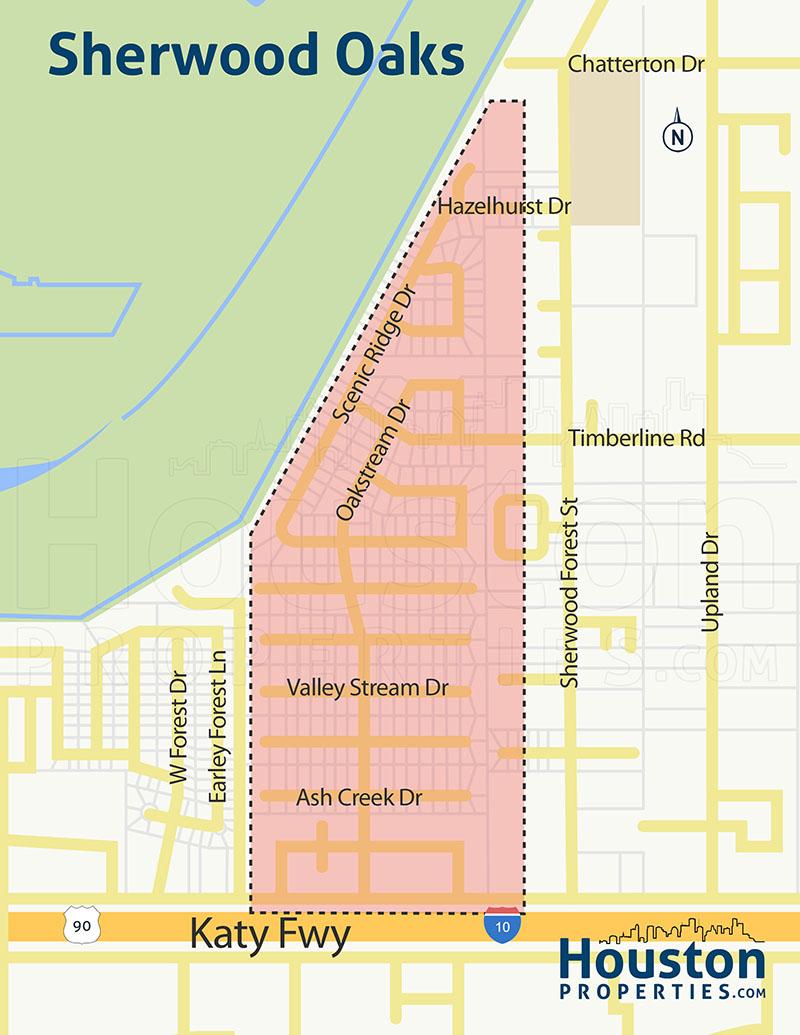 Sherwood Oaks Houston TX Map