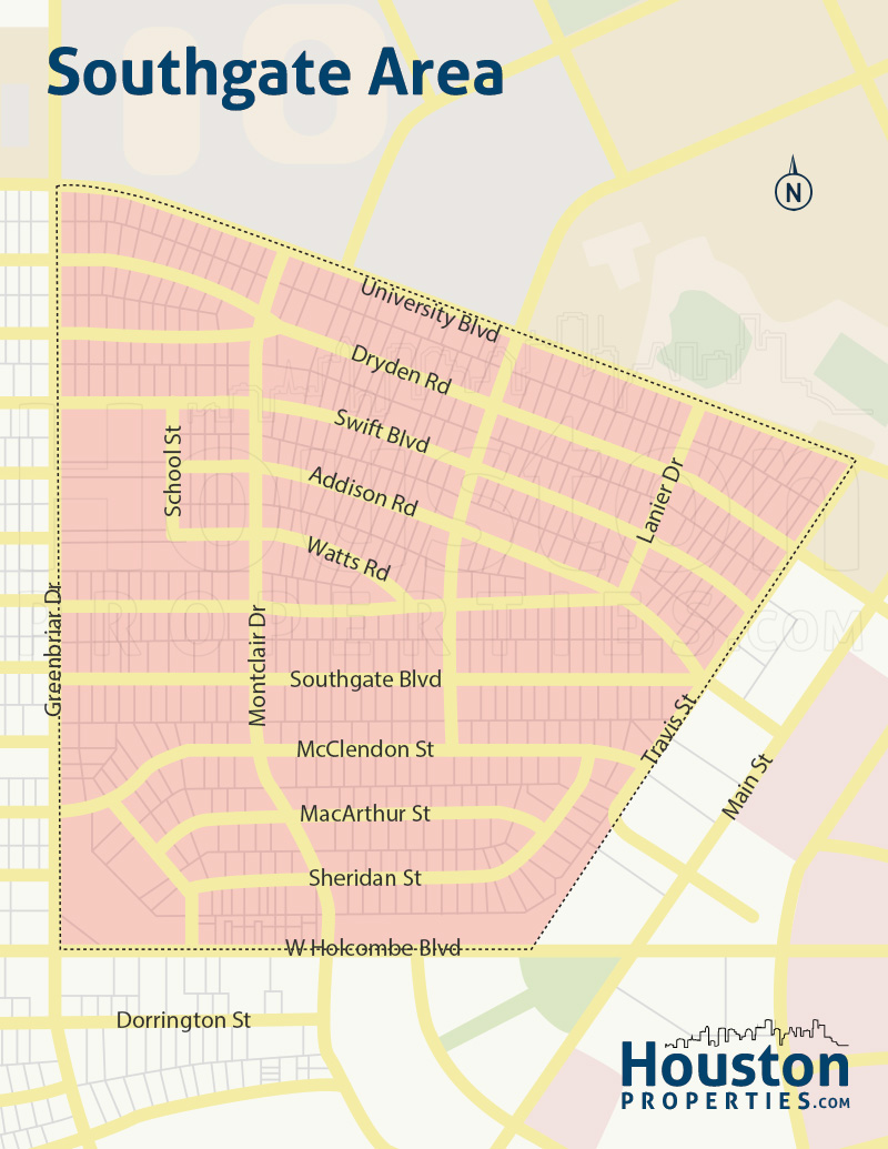 map of southgate homes in houston