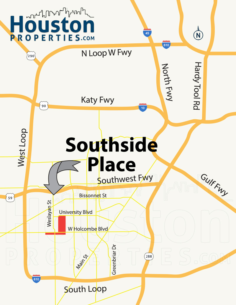 Southside Place Neighborhood Map