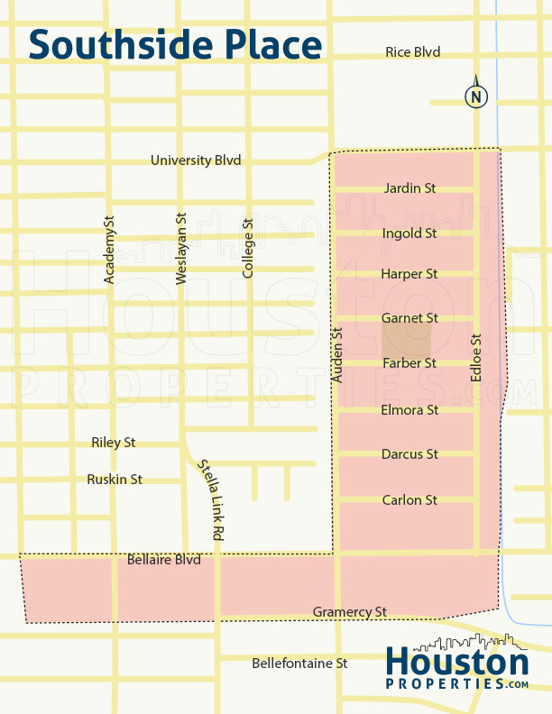 Southside Place Houston Neighborhood Map