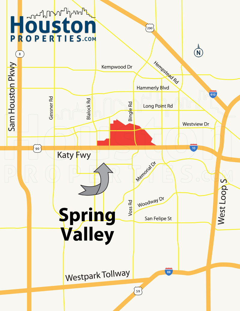 Spring Valley Village Houston map