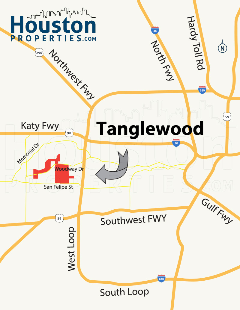 Tanglewood Houston map