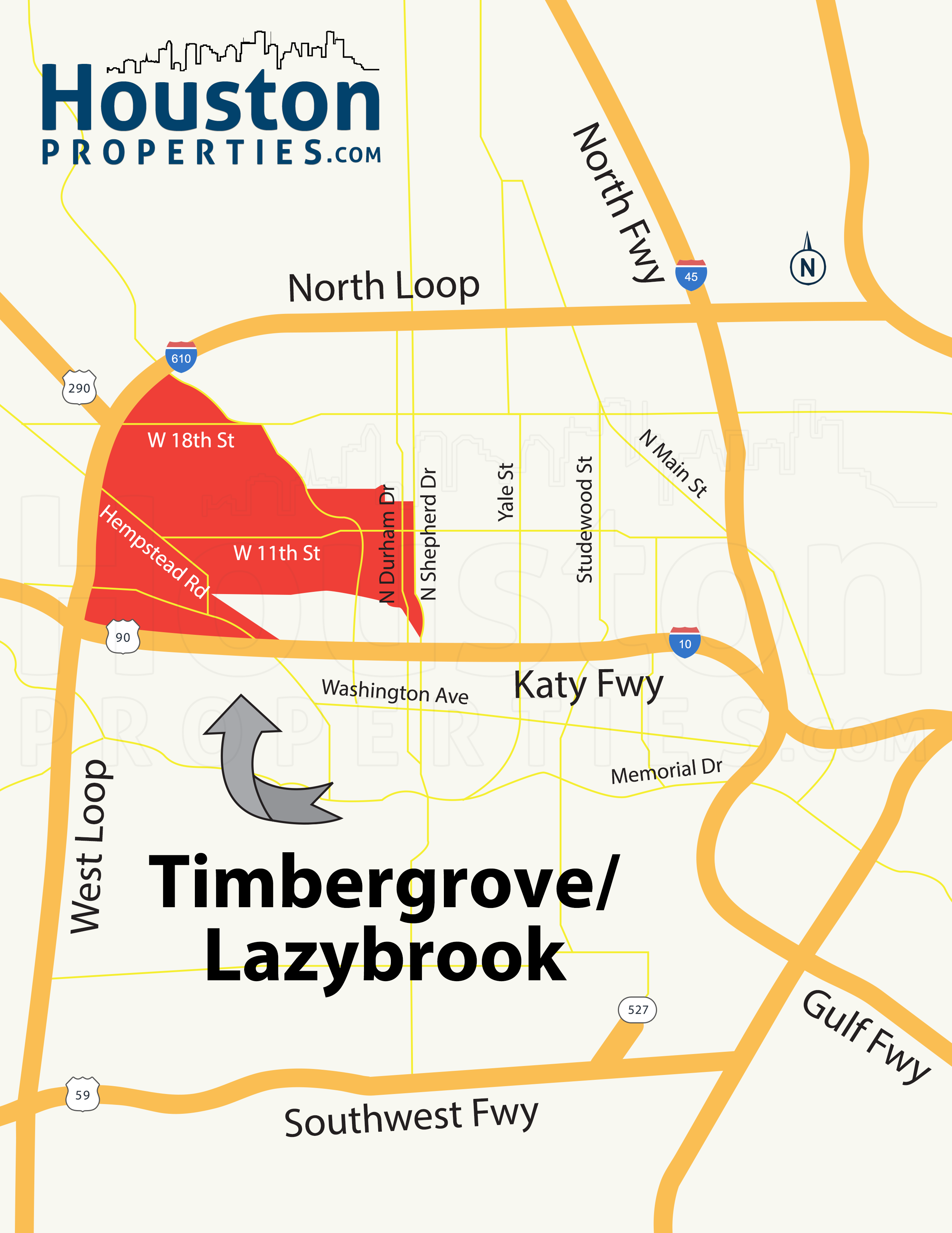 Timbergrove / Lazybrook map