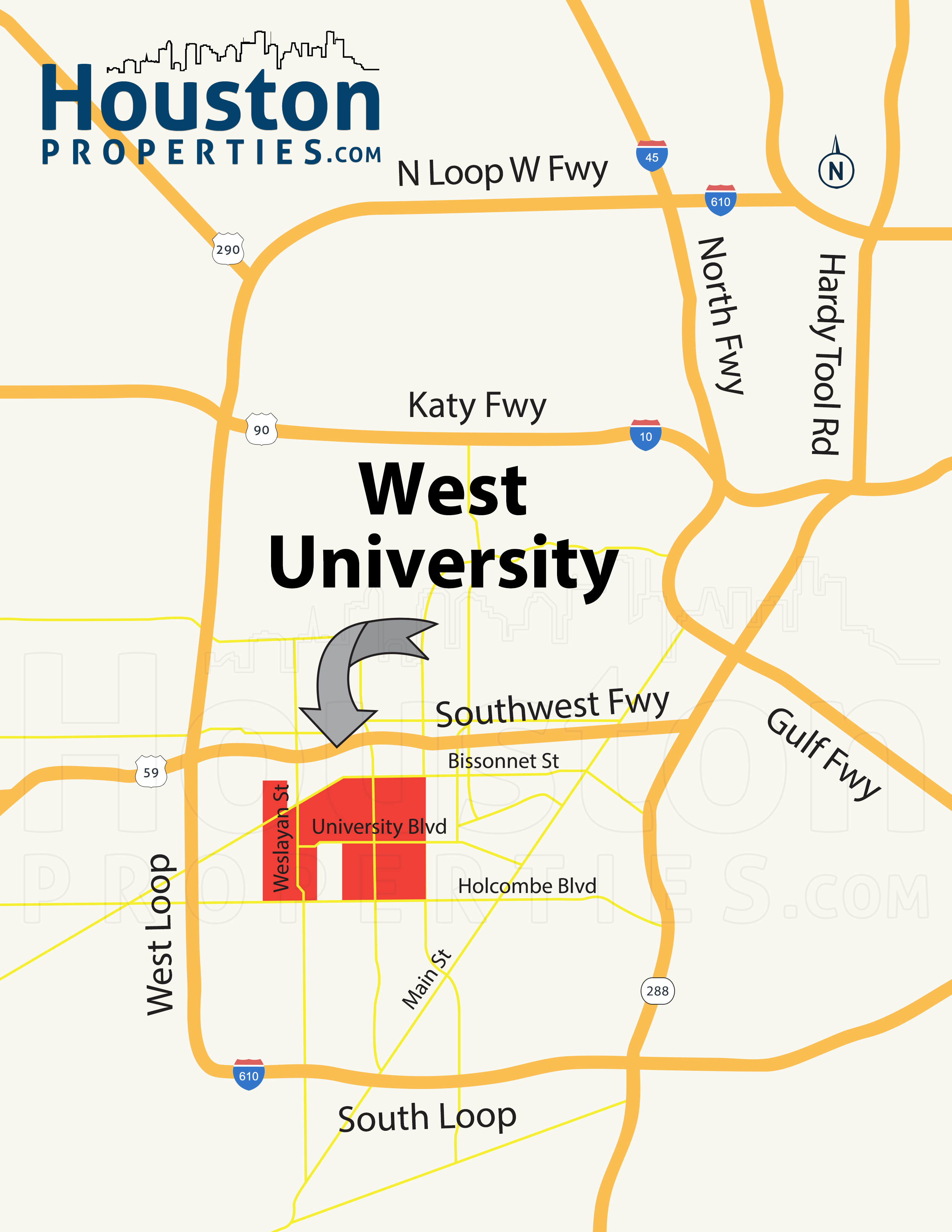 west university houston map