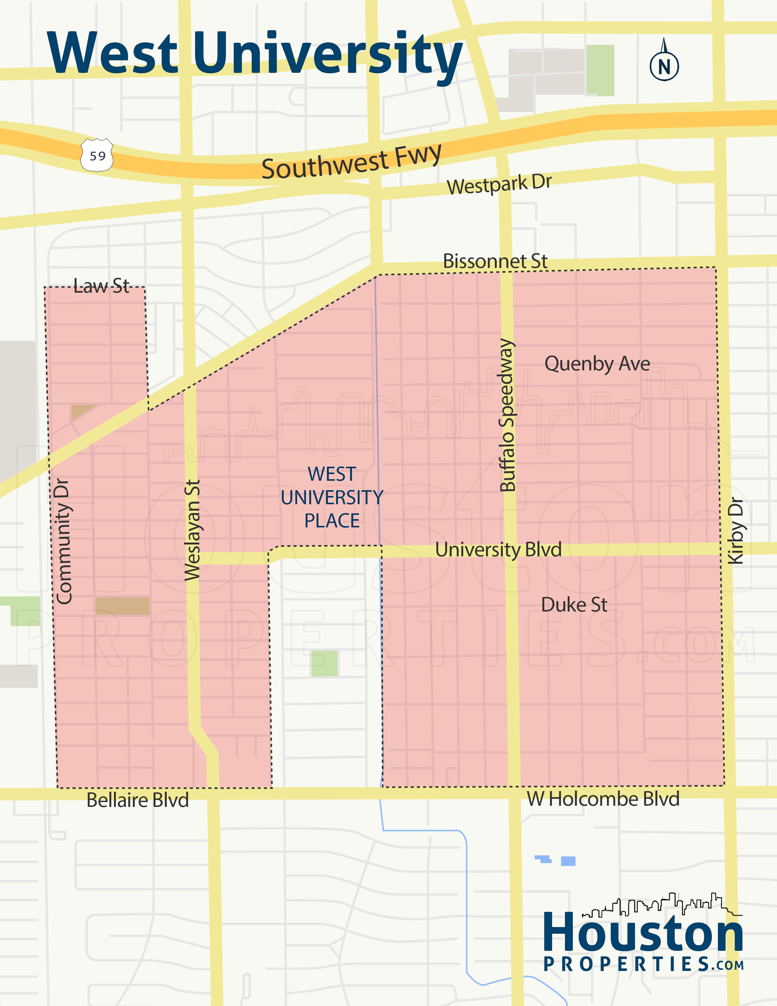 map of west university homes in houston