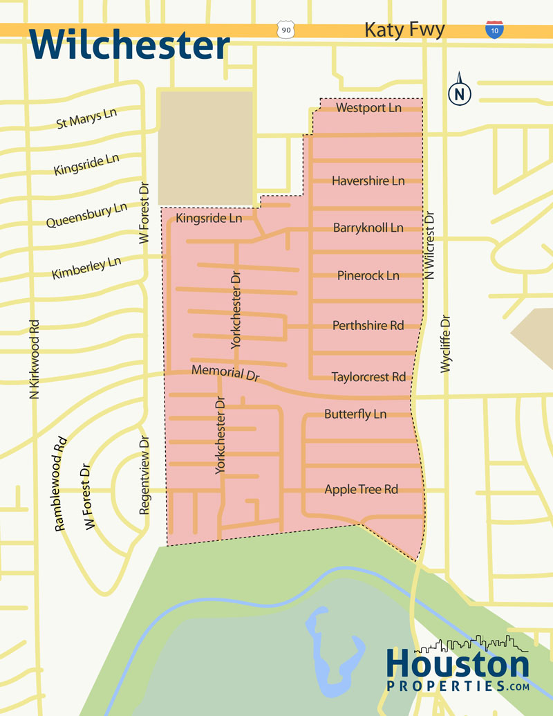 Wilchester Houston Neighborhood Map