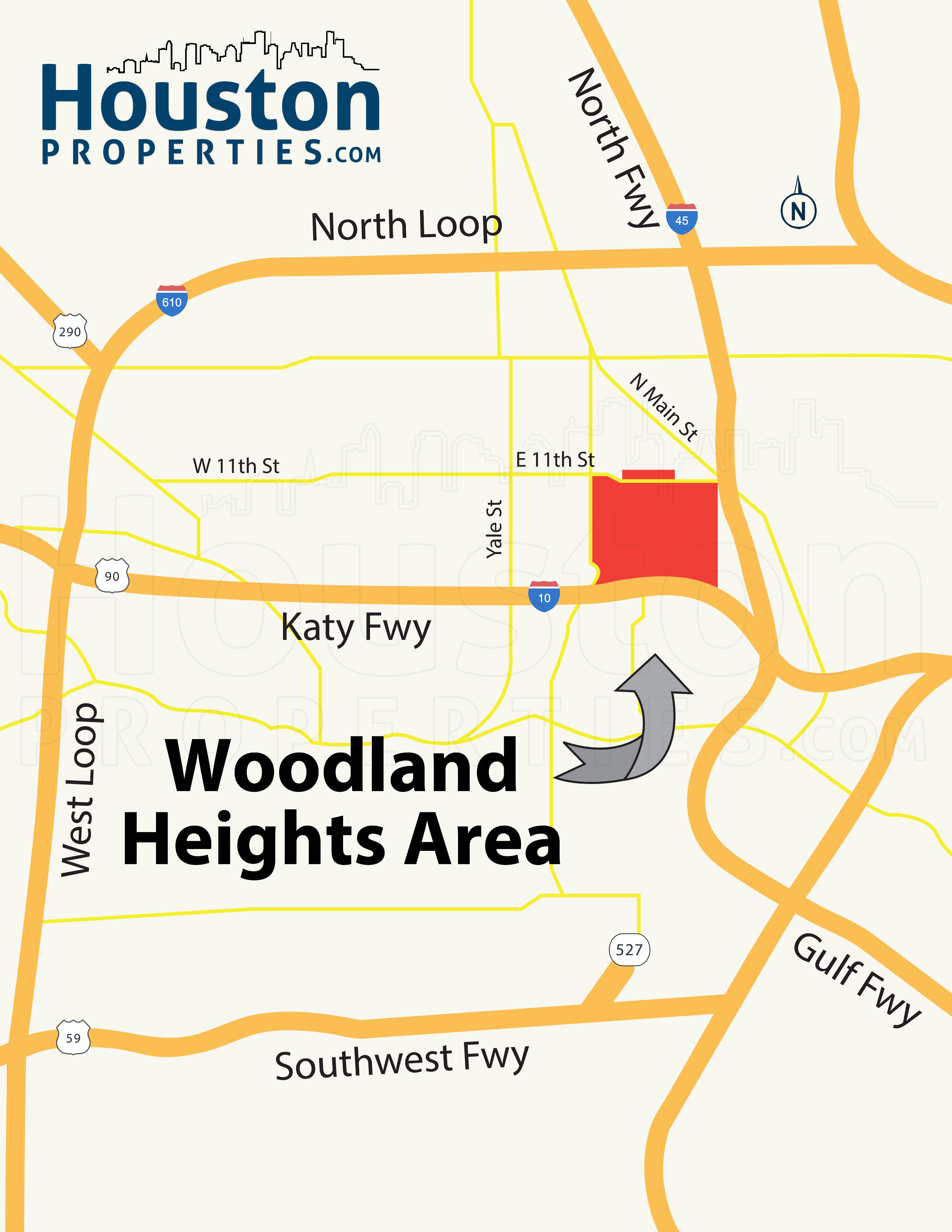 Woodland Heights Houston Location