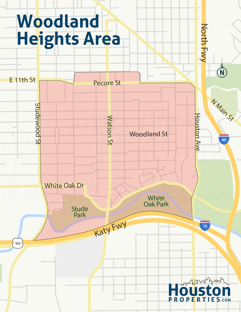 map of woodland heights homes in houston