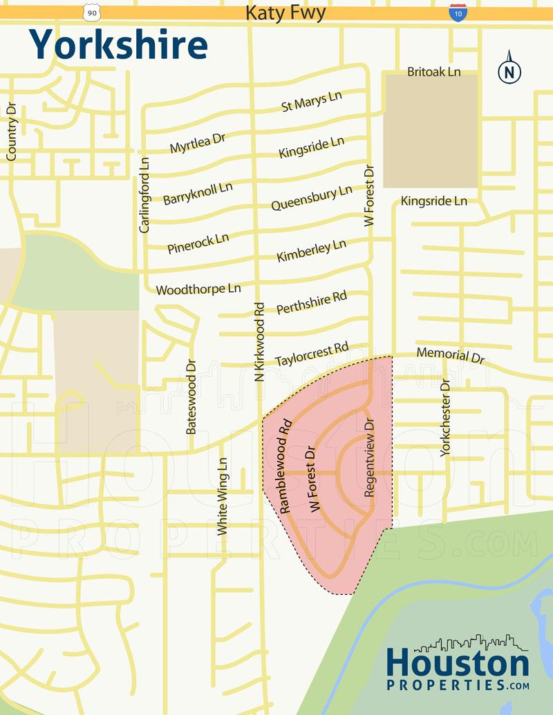 Yorkshire Memorial TX neighborhood map